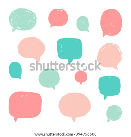 Set of speech bubbles with old grunge texture. Vector hand drawn illustration - stock vector
