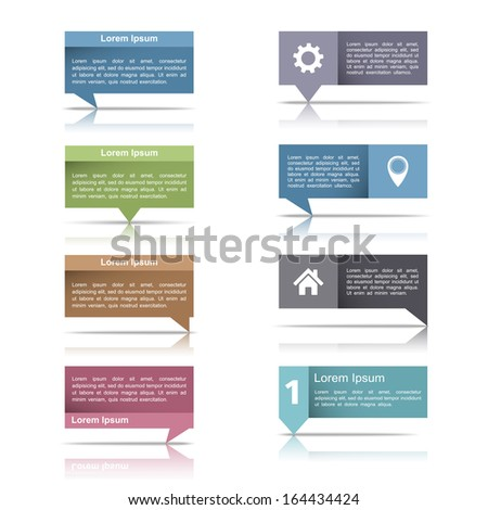 Set of speech bubbles with reflection for your text, vector eps10 illustration - stock vector