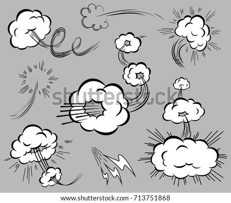 Set of speed elements in the style of comics. Isolated blasting clouds with moving trails. Vector illustration.