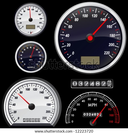 set of speedometer vector - stock vector