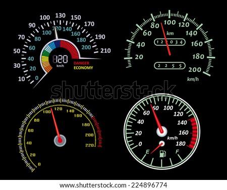 Set of speedometers panels for design. Vector illustration - stock vector