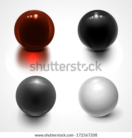 Set of spheres isolated on white. Vector illustration for your design. - stock vector