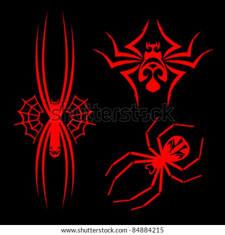 Set of spiders for tribal tattoo design. Rasterized version also available in gallery - stock vector