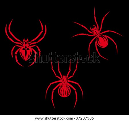 Set of spiders for tribal tattoo design. Rasterized version also available in gallery