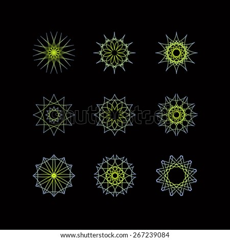 Set of spiky spirograph. Pattern for watermarks and certificates. Editable vector illustration - stock vector