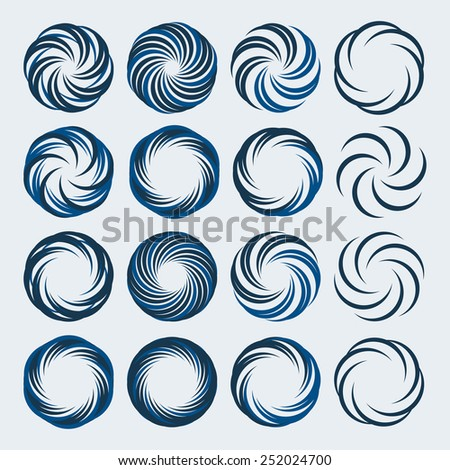Set of spiral and swirls logo design elements, icons, symbols and signs. - stock vector