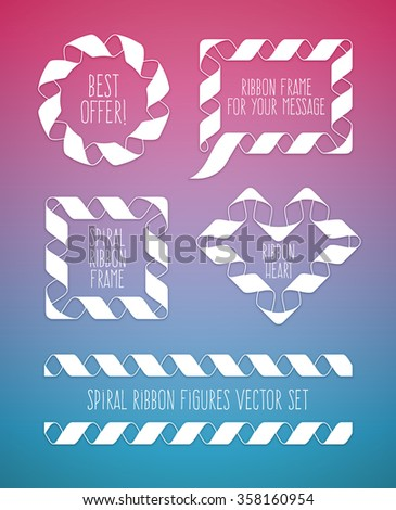 Set of spiral ribbon frames round, circle and the heart symbol. vector illustration. Transparent objects used for lights and shadows drawing. - stock vector