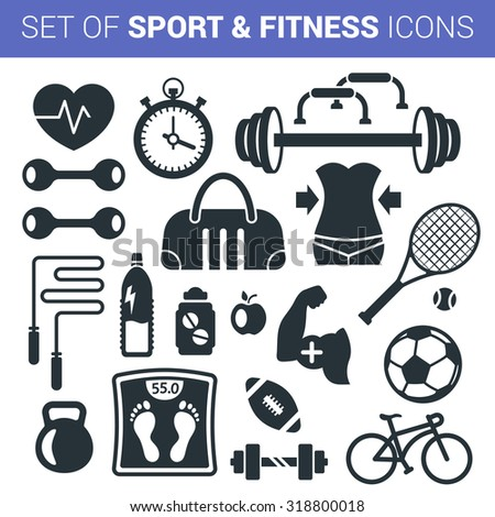 Set of sport and fitness icons isolated on white background - stock vector