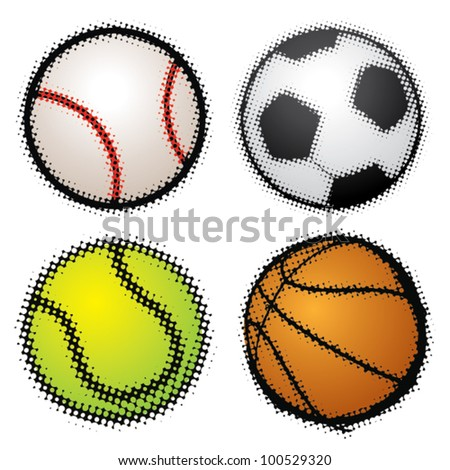 Set of sport balls - halftone vector illustration (badge/stamp) - stock vector