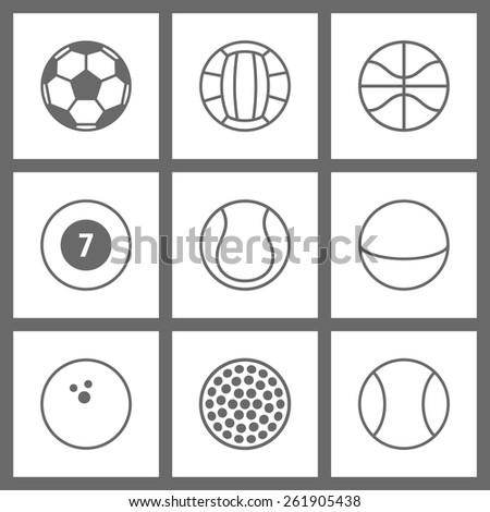 set of sport balls icon. linear art. black and white style - stock vector