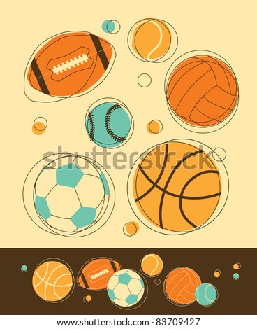 Set of Sport Balls in Retro-Styled