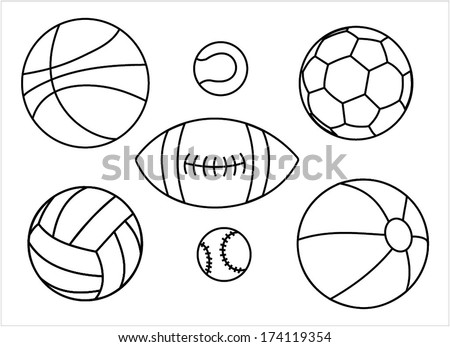 Set of sport balls outline - basketball ball, tennis ball, football ball, rugby ball, volleyball ball, baseball ball, vector art image illustration, isolated on white background eps10 - stock vector