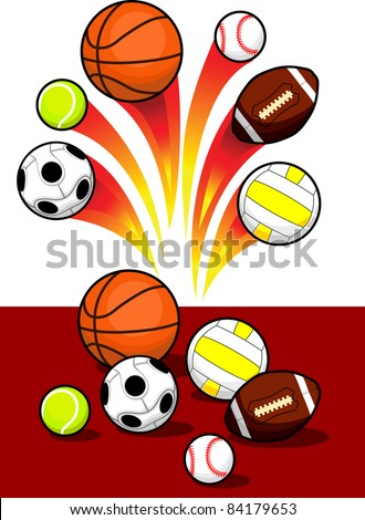 Set of Sport Balls with blazing trail - stock vector