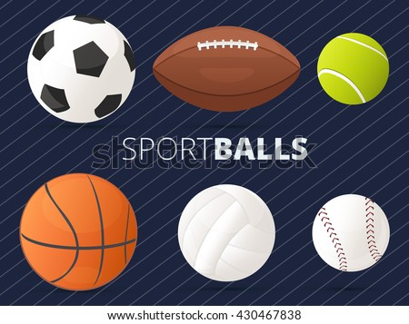 Set of sport balls with football, basketball, tennis, volleyball, baseball and american football/rugby