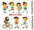Set of sport characters. Flat icons. Sport and Health. - stock vector