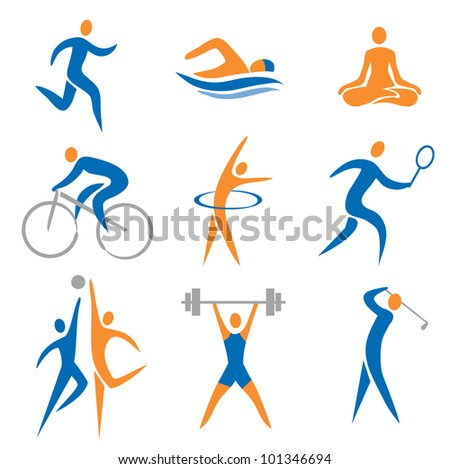 Set of sport, fitness icons. Vector illustration. - stock vector