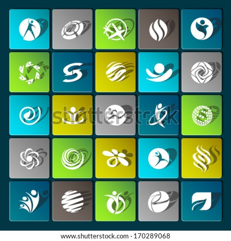 Set of sport lifestyle fitness web icons flat vector with shadow effect for web design objects and items for mobile devices and interfaces. Graphic Design Editable For Your Design.  - stock vector