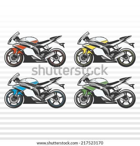Set of sport motorcycles. Colored sport motor bikes. - stock vector