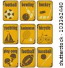 set of Sport separate Signs  - Retro Labels with Grunge Effect in yellow color - vector illustration - stock vector