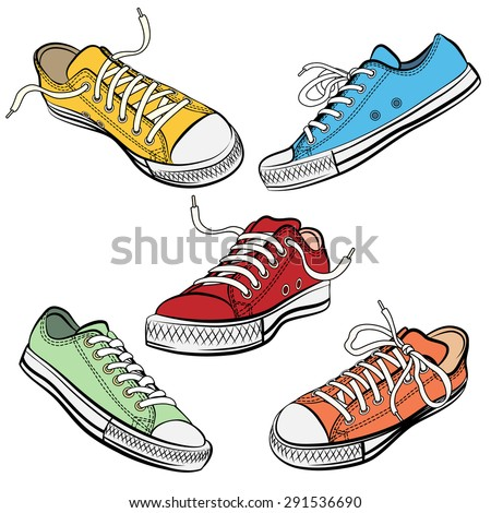 Set of sport shoes or sneakers icons in different views. Footwear and lace,  clothing and street style - stock vector