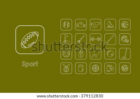 Set of sport simple icons - stock vector