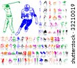 Set of sport sketches. Part 1. Isolated groups and layers. Global colors. - stock vector