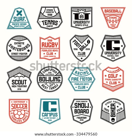 Set of sports badges. Soccer, bowling, baseball, tennis and other. Color print on white background - stock vector