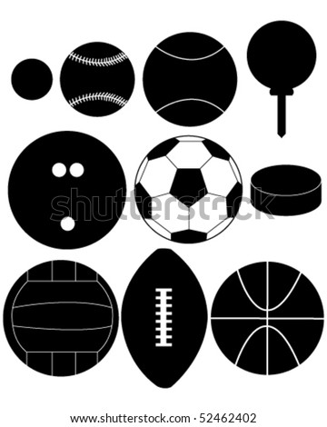 Set of Sports Ball Silhouettes