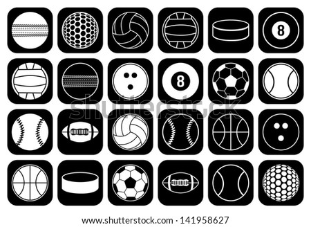 set of sports balls icon