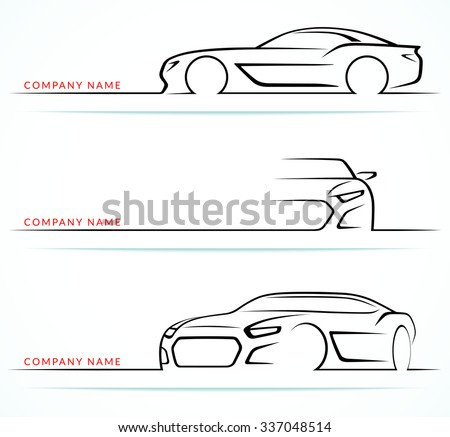 Set of sports car silhouettes isolated on white background. Front, 3/4 and side views. Vector illustration - stock vector