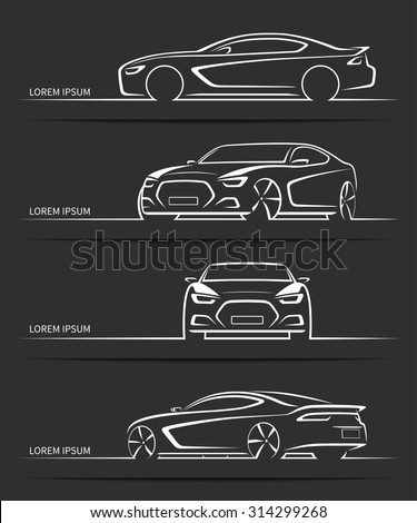 Set of sports car silhouettes. Modern abstract luxury automobile outlines / contours isolated on black background. Front, side and 3/4 views. Vector illustration - stock vector