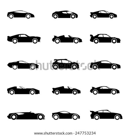 Set of sports cars, racing cars icons. Race, sport, rally, dakar, taxi,  transportation vector icons, silhouette, black. Cars icons set.