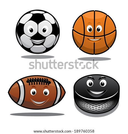 Set of sports equipment icons or logo with a happy smiling soccer ball, basketball, football and hockey puck in cartoon style - stock vector