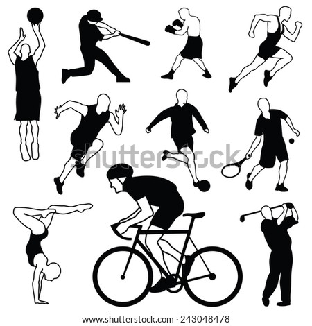 Set of sports icons: basketball, football, baseball, boxing, running, tennis, soccer, gymnastics, golf, biker - stock vector