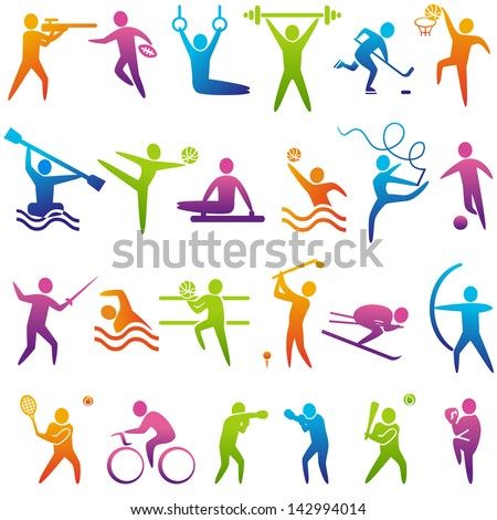 Set of sports icons: basketball, soccer, hockey, tennis, boxing, wrestling, golf, baseball, rugby, American football, canoeing, barbell, weightlifting, water polo,  volleyball. Vector illustration - stock vector