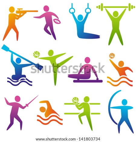 Set of sports icons: shooting, rugby, gymnastics, American, football, power lifting, kayaking, canoeing, barbell, weightlifting, water polo, archery, fencing, swimming, volleyball, Olympics - stock vector