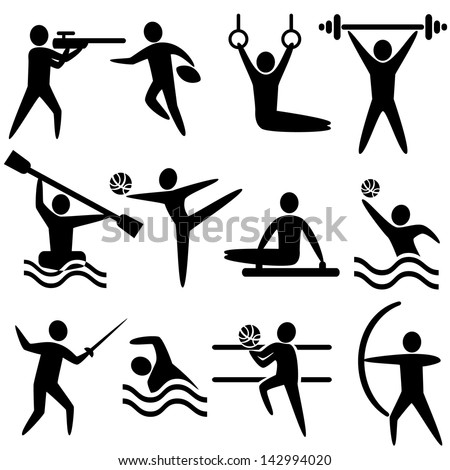 Set of sports icons: shooting, rugby, gymnastics, American, football, power lifting, kayaking, canoeing, barbell, weightlifting, water polo, archery, fencing, swimming, volleyball, - stock vector