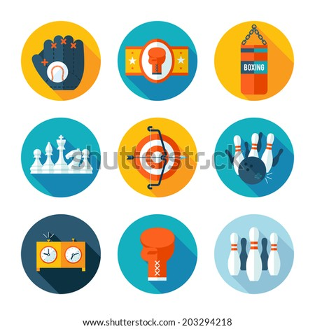 Set of sports icons. Vector sport equipment in flat modern style. - stock vector
