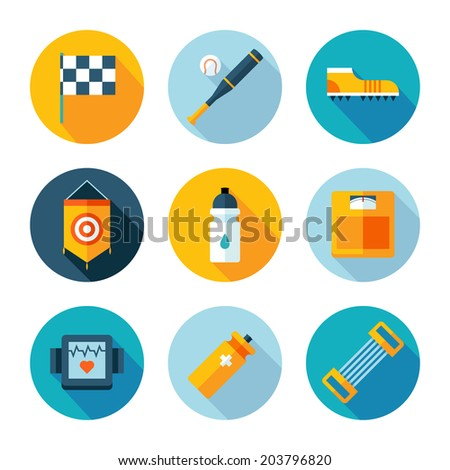 Set of sports icons. Vector sport equipment in flat modern style - stock vector