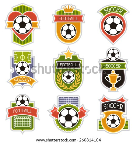 Set of sports illustrations soccer football stylized badges.