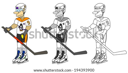 Set of sportsman - hockey. Cartoon young ice hockey player with stick, puck, helmet and the jersey, vector art image illustration, isolated on white background, colorful, grayscale and outline design - stock vector
