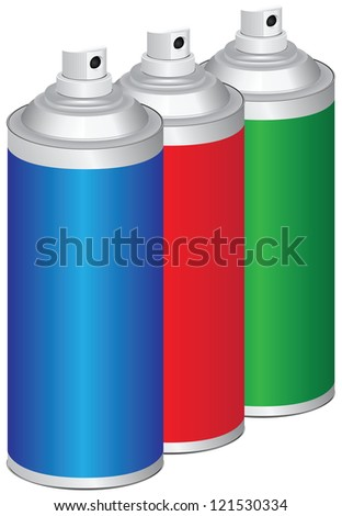 Set of sprays for household and industrial work. Vector illustration.