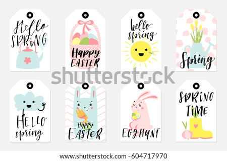 Set spring easter gift tags labels stock vector 604717970 set of spring and easter gift tags and labels with cute cartoon characters signs and negle