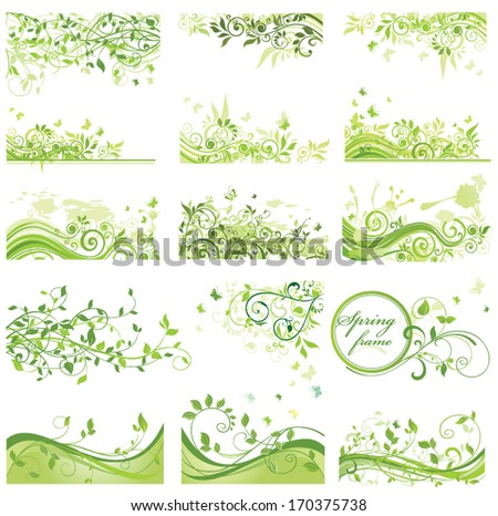 Set of spring backgrounds - stock vector
