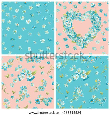 Set of Spring Blossom Flowers Backgrounds - Seamless Floral Shabby Chic Pattern - in vector - stock vector