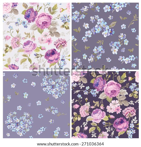 Set of Spring Flowers Backgrounds - Seamless Floral Shabby Chic Pattern - in vector - stock vector