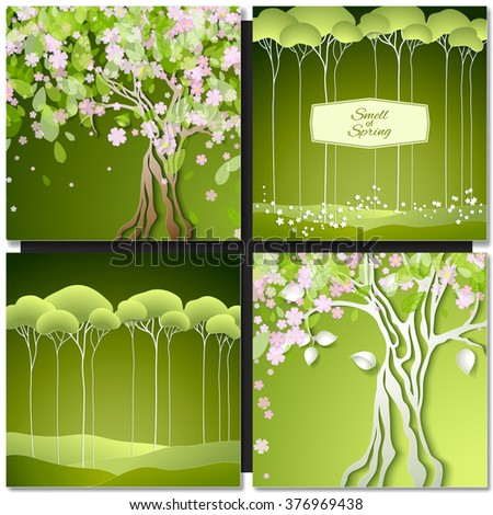 Set of Spring green backgrounds with trees, leaves and flowers. Vector illustration. - stock vector