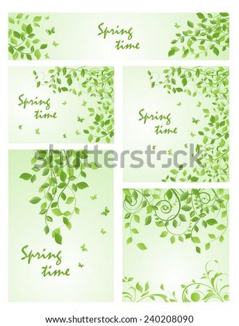 Set of spring green templates - stock vector