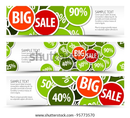 Set of spring horizontal banners - with place for your text - stock vector
