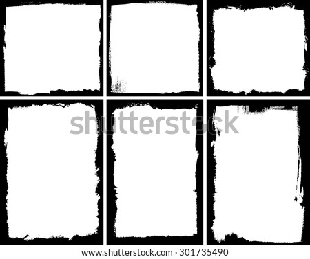 Set of square and rectangular textured frames - stock vector